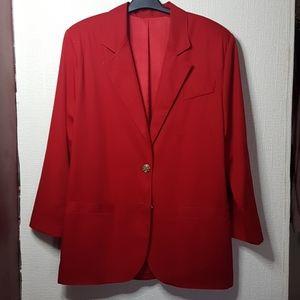 Boyfriend red unstructure blazer gold buttons SZ L